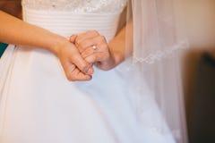 Bride hands wedding ring royalty free stock photos