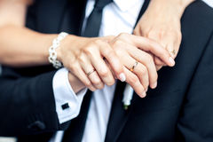 Bride hands with wedding rings, close-up Royalty Free Stock Photography