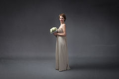Bride happy with flowers on hand royalty free stock photos