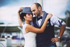 Bride, hat, wedding, smile Stock Photo