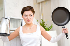 Bride hates household chores Royalty Free Stock Images