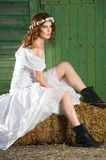 Bride on a Haystack Stock Photo