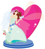 Bride with heart stock illustration