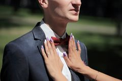 Bride helps the groom to correct bow-tie. Closeup.the bride helps the groom to correct bow-tie Royalty Free Stock Images