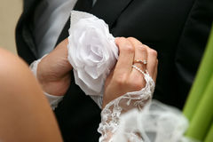 Bride helps the groom to wear a wedding flower on suit Stock Images