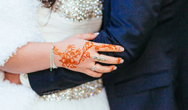 Bride henna carved beautiful bride's hand Stock Photography