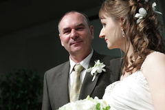 Bride and her father royalty free stock image