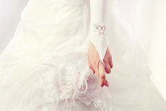 Bride with her fingers crossed Stock Photography