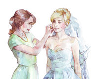 Bride and her friend are preparing for a wedding stock illustration