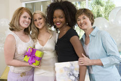 Bride With Her Friends And Mother At Hen Party Stock Images
