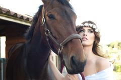 Bride and her Horse Royalty Free Stock Photo