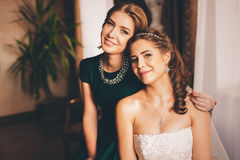 Bride and her sister in house Royalty Free Stock Images