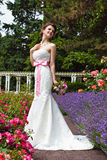 Bride in her white wedding dress Royalty Free Stock Photos