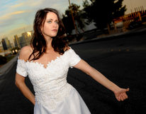 Bride Hitch Hiking Royalty Free Stock Image