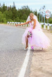 Bride hitching on a road. Lonely bride hitching on a suburban road Stock Photography
