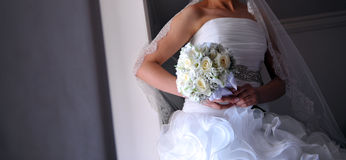 Bride hold bouquet Royalty Free Stock Images