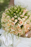 Bride hold bouquet of rose stock photography