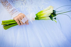 Bride hold wedding bouquet Royalty Free Stock Photos