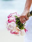 The bride hold wedding bouquet . Royalty Free Stock Photo
