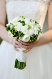Bride is holding beautiful bright wedding bouquet Royalty Free Stock Photos