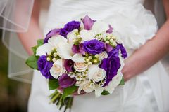 Bride holding purple and white wedding bouquet  Stock Photography