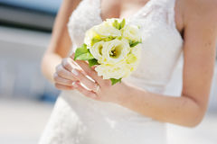 Bride holding beautiful wedding bouquet Stock Photography