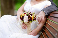 Bride holding a beautiful wedding bouquet Royalty Free Stock Photography