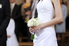 Bride holding beautiful wedding flowers bouquet Royalty Free Stock Images
