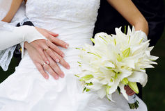 Bride holding a beautiful white wedding bouquet.  Royalty Free Stock Image
