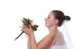 Bride holding boquet Stock Photo