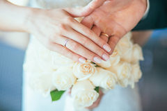 Bride holding bouguet of flowers Royalty Free Stock Photo