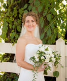 Bride Holding a Bouquet Stock Images