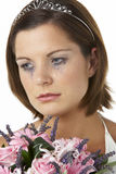 Bride Holding Bouquet And Crying Stock Photography