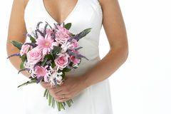 Bride Holding Bouquet Of Flowers Royalty Free Stock Images