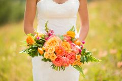 Bride holding bouquet of flowers Stock Photos