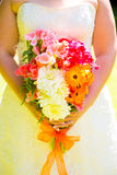 Bride Holding Bouquet Flowers Royalty Free Stock Photo