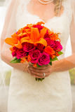 Bride Holding Bouquet Flowers Stock Photos