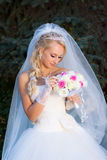Bride holding a bouquet of hand Stock Image