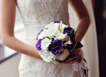 Bride holding a bouquet in the hands of the purple flowers Royalty Free Stock Photos