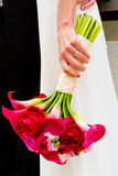 Bride Holding Bouquet of Mixed Flowers Royalty Free Stock Photography