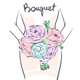 Bride holding a flower bouquet. Wedding celebration attribute. Bride holding a flower bouquet. Line art on white background. Vector illustration eps 10 Stock Photos