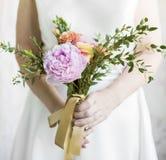 Bride Holding Flower Bouquet Wedding Engagement Ceremony Stock Photos
