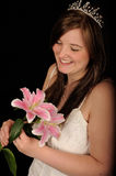 Bride holding flowers Royalty Free Stock Photos
