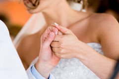 Bride holding hand Royalty Free Stock Photography