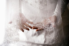 A bride holding her veil in her hand. Royalty Free Stock Photos