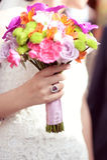 Bride holding her wedding bouquet Stock Photo