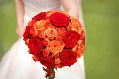 Bride holding orange bouquet Royalty Free Stock Photos