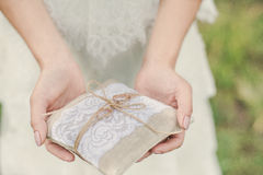 The bride is holding a pillow with the wedding. Bride standing in a field whith a pillow for rings Stock Photos