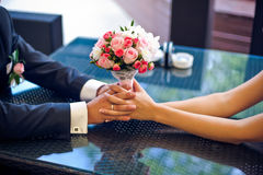 Bride holding pink wedding bouquet Royalty Free Stock Photo