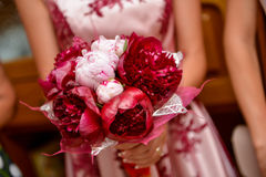 Bride holding a red flower Stock Images